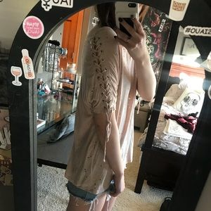 Destroyed Lace Up Sleeves Oversized Tee